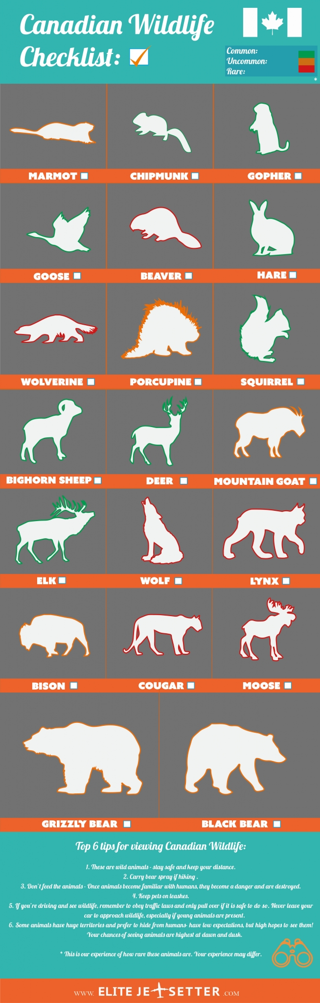 Canadian Animal checklist