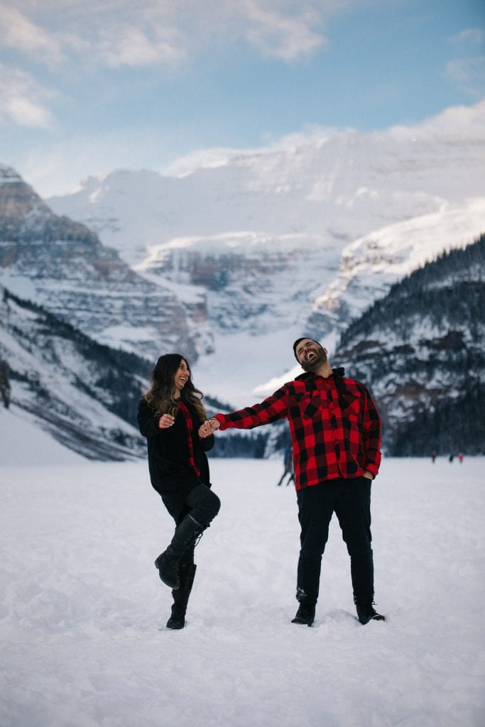 Winter at Lake Louise romantic couple photoshoot