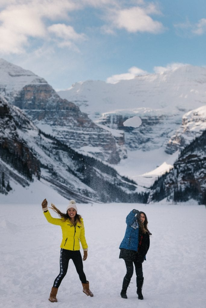 Winter at Lake Louise snowball fight