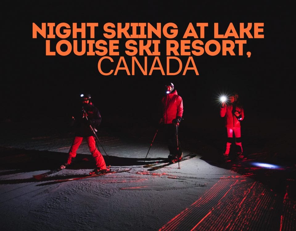 night skiing at Lake Louise